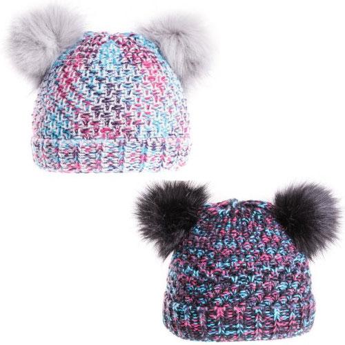 Girls Soft Double Faux Fur Pom Pom Hat