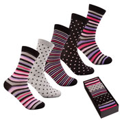 Pierre Roche Stripe & Spots Socks in a Box Ladies