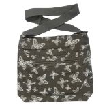 Butterfly Canvas Crossbody Bag Grey