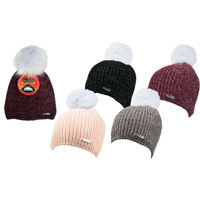 Ladies Heat Machine Pom Pom Hat Chenille Sparkle