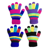 Kids Multicoloured Magic Neon Gloves with Lining