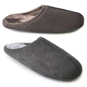 Mens Soft Fleece Slippers Plain Brown/Grey