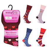 Ladies Eazy Grip Non Elastic Socks Hearts Spots