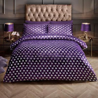 Super Soft Metallic Heart Duvet Set Purple