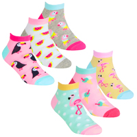Girls 3 Pack Trainer Liner Socks Tropical Design