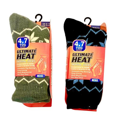Mens Ultimate Heat Thermal Socks Snowflakes