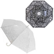 Lace Print Dome Umbrella Black/White