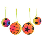 Assorted Design Neon Rainbow Ball With Keychain