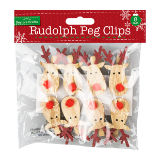Christmas Rudolph Peg Clips 8 Pack