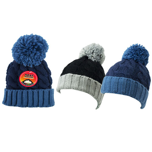 Boys Heat Machine Pom Pom Hats Plain Colours