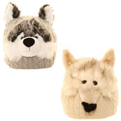 Adult Novelty Animal Beanie Husky/Wolf