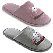 Ladies Owl Mule Slippers