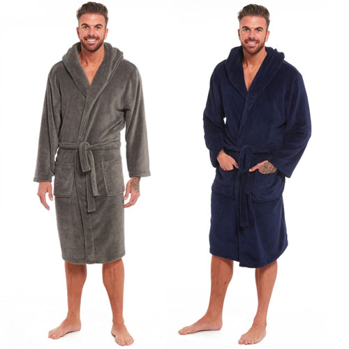 Mens Coral Fleece Hooded Gown Navy/Charcoal