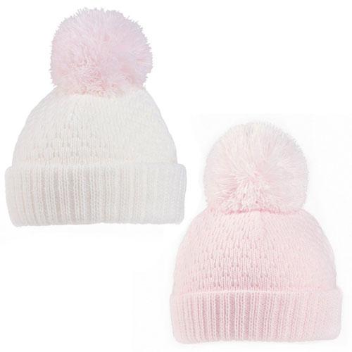 Baby Girls Plain Design Knitted Bobble Hat