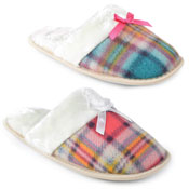 Ladies Tartan Fleece Mule Slippers With Bow