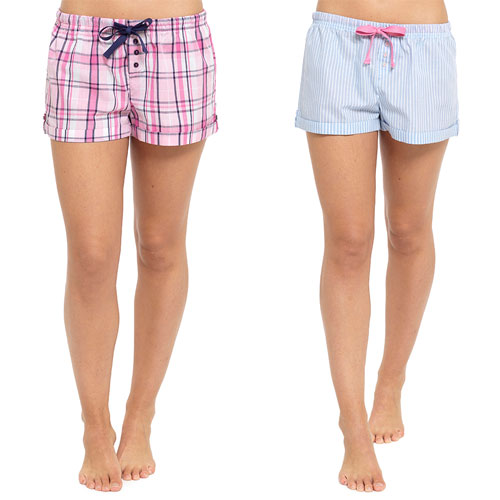 Ladies Yarn Dyed Shorts Blue/Pink