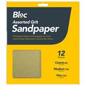Assorted Grit Sandpaper 12 Sheets