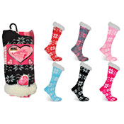 Snuggle Toes Ladies Heat Machine Socks Snowflakes