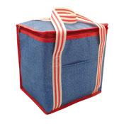 Large Insulated Cooler Bag Denim Stripe