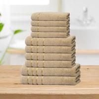 Bear & Panda 10 Piece Cotton Towel Bale Beige