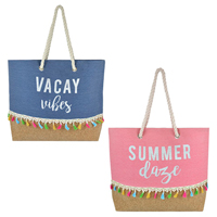 Canvas Bag With Slogan Print And Mock Cork Base