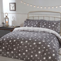Comfy Fleece All Stars Grey Design Duvet Set