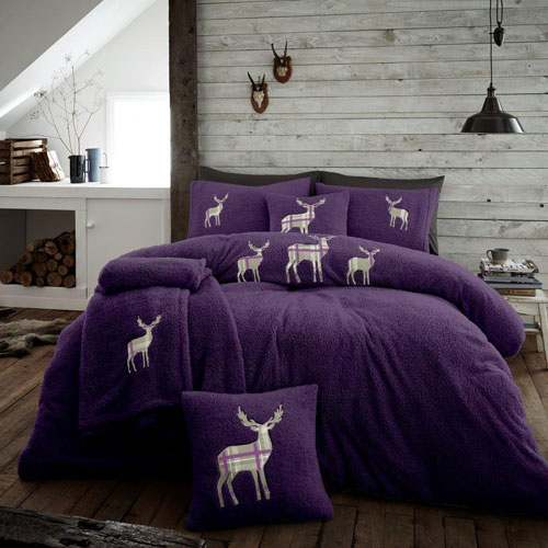 Stag Embroidered Soft Teddy Feel Duvet Set Purple