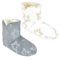Ladies Star Foil Print Bootee Slippers