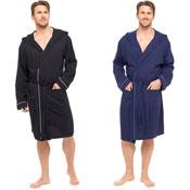 Mens Plain Jersey Robe Navy/Black