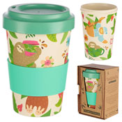 Hanging Sloth Reusable Screw Top Bamboo Travel Cup