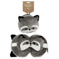 Cutiemals Racoon Round Travel Pillow And Eye Mask
