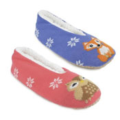 Ladies Owl and Fox Christmas Ballet Slippers