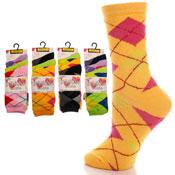 Ladies Casual Argyle Ankle Socks Neon