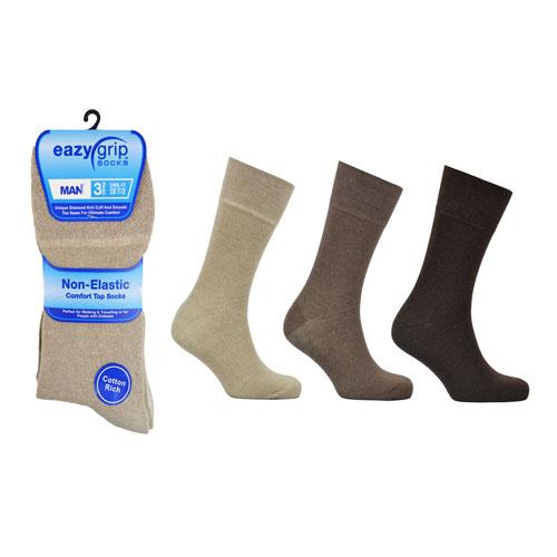 Mens Eazy Grip Non Elastic Socks Assorted