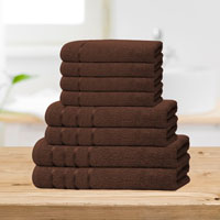Bear & Panda 8 Piece Cotton Towel Bale Chocolate