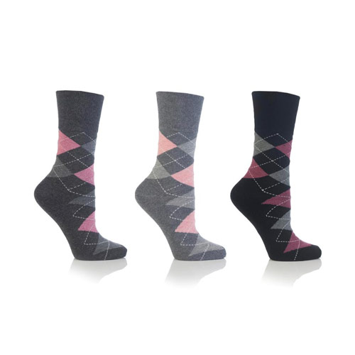 Ladies Gentle Grip Socks Grey Argyle