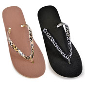 Ladies Animal Strap Colour Flip Flops