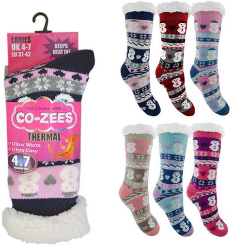 Ladies Snowman Thermal Bootie Socks
