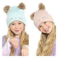 Girls 2 Pom Pom Hat