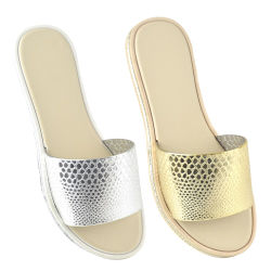 Ladies Embossed Snake Print Pool Sliders