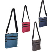 Ladies Shoulder Bag With Zip Pockets Plain Colours