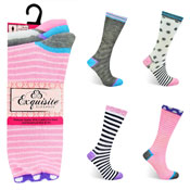 Ladies Exquisite Computer Socks Stripe & Spots Carton Price