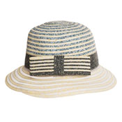 Ladies Stripe Short Brim Summer Hat With Bow