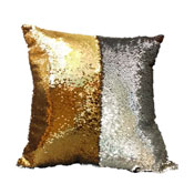 Sequin Filled Cushion Silver & Gold