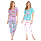 Ladies Melon/Flamingo Print Pyjama Set
