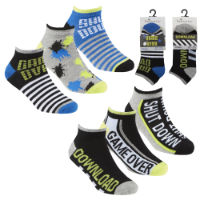 Boys Bamboo Trainer Liner Socks Game Slogan