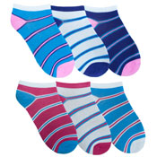 Ladies Trainer Socks Colour Stripes