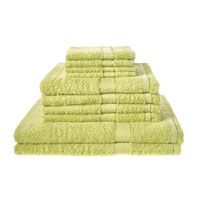 10 Piece Luxury Towel Bale Set With Ribbon Lime Green