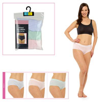 Ladies 3 Pack Full Briefs Pastel