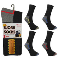 Mens Work Socks Coloured Heel and Toe